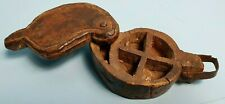 SPICE BOX ANTIQUE HANDMADE TREEN CARVED WOOD SHAPE OF LEAF