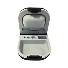 Hearing Aid Case with Cleaning Brush Battery Storage Slot Hard Small for BTE ITE