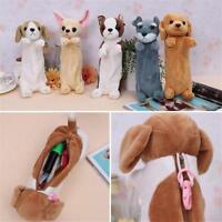 Cartoon Plush Dog Pencil Case Animal Pen Bag Kids School Supplies Stationery