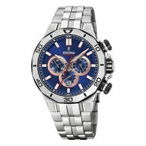 Festina Men's Watch Stainless Steel Bracelet Chronograph Blue Dial F20448-1