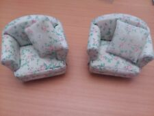 DHE 3999 Dolls House Emporium 12th Scale Pink Spray Armchair X 2