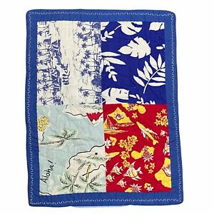 Pottery Barn Kids Aloha Bryce Surf Patchwork Pillow Shams (2) Quilted Blue