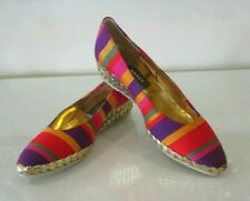 BALLY Multicoloured Striped Silk Fabric Gold Leather Wedge Sandal Shoes 37 4 NEW