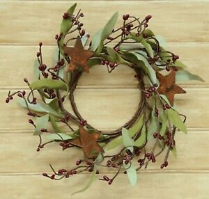 """4"""" Candle Ring-Burgundy Pip Berries/Rusty Tin Stars - Pale Green Leaves"""