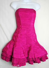 JESSICA McCLINTOCK ~ Bright Pink Strapless Cocktail Dress, Poof Bottom ~ Size 2