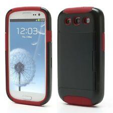 Samsung i9300 Galaxy S3 Silicone Hybrid Hard Case/Card Storage- Black/Red