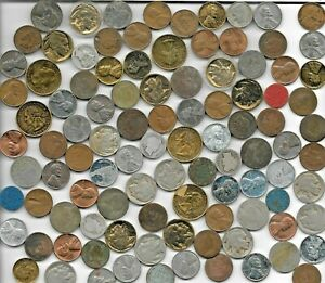 100 US Coin Collection Lot Indian Barber Silver WWII Liberty War Nickel Gold Pl.