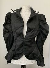 Raven Blazer Jacket With Puffy Shoulders, Embroidered Floral Design, Goth Punk
