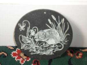slate wall hanging field mouse door mouse dormouse kitchen circle shabby chic