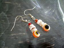 Evil Eye & Puka Shell Beads Handmade Artisan Crafted Earrings Oo Acrylic