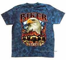 T Shirt Batik Blau HD Biker Chopper&OldSchoolmotiv Modell Biker Till I m Dead