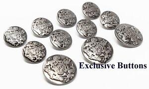 Antique Silver Metal Blazer Buttons Set - Lion & Unicorn