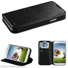 BLACK Leather Wallet Case Cover Folio Flip Pouch for Samsung i9500 Galaxy S4 IV