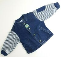 Vintage Little LEVI'S 24 Months Blue Denim Jacket Striped Sleeves 100% Cotton