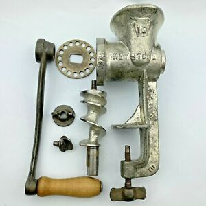 Vtg Manual Hand Crank Meat Grinder Keystone Chopper No 10 Cast Iron Parts/Repair