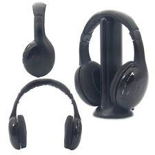 3X New 5 in 1 Wireless Headphone Headset for MP3/MP4 PC TV CD FM Radio Black