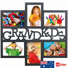 UNIGIFT 6 IN 1 WOODEN COLLAGE PHOTO FRAME GRANDKIDS BLACK - BRAND NEW