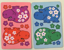 Playing Swap Cards = 2 Colourful Retro Hippos 70's