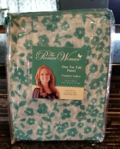 THE PIONEER WOMEN ONE TIE TAB PANEL COUNTRY CALICO - TEAL- 50 X 84 - NEW