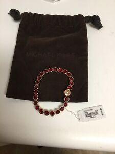 Michael Kors RED Rose Gold Park Avenue Bezel Set Crystal Bracelet NWT