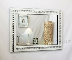 Modern Art Deco Acrylic Crystal Glass Design Bevelled Wall Mirror 80x60cm White