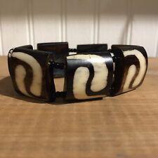 stretchy bracelet Tribal Modern Boho African Carved & Polished Hand-painted Bone