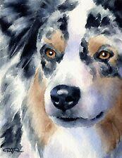 AUSTRALIAN SHEPHERD Watercolor DOG 8 x 10 ART Print Signed DJR