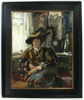 Umkreis Lovis Corinth Meisterhafte Studie einer sitzenden Dame mit Hut Öl