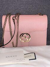 GUCCI Interlocking Chain Pink Leather Crossbody Bag 510304
