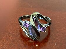925 Sterling Silver Purple Women's Unique Ring Jewelry ~ Size 9 RG