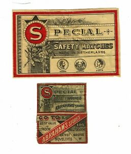 2 Old Holland c early 1900s 1 Packet & 2 panels Matchbox labels Abraham's Stores