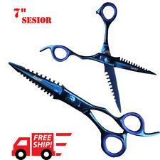 "Professional Salon Hair Cutting Thinning Scissor Barber Japan Stainless 7"" Blue"