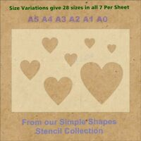 Simple Shape Hearts Stencil Strong 350 micron Mylar not Hobby stuff #SSS005