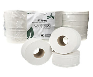 12 Mini Jumbo Toilet Rolls 2 ply 150m Bathroom Washroom Bulk Tissue Paper Sheets