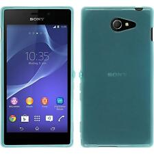 Coque en Silicone Sony Xperia M2 - transparent turquoise + films de protection