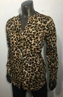 Charter Club Top Size L Petite Women's Animal Print Long Sleeve V-Neck Blouse