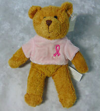 "New Avon Soft Breast Cancer Bear Plush Pink Ribbon Shirt 6"" Teddy Stuffed Animal"