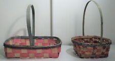 Vintage Easter Baskets Woven Splint Made in Japan 1950's 1960's Wood Decoration