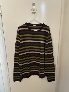 Mens Green Brown Striped Jumper Cosy Winter Smart Casual Size L. D064921