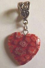 pendentif argenté coeur rouge fleurs  21x20mm