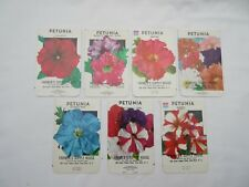 Vintage Petunia flower seed packets x7 Shumway & Farmers Supply empty unused