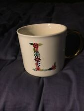 Opal house Letter L Monogrammed Coffee Mug White with Gold Handle Porcelain NEW