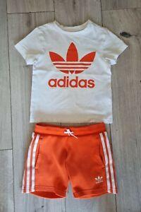 Boys Orange ADIDAS Summer Shorts & T-Shirt Set Outfit Age 3-4 Years