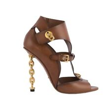52785 auth TOM FORD brown leather CHAIN-HEEL Sandals Shoes 40.5
