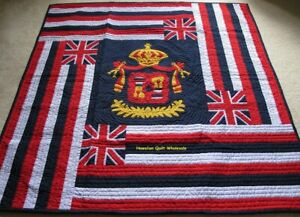 Hawaiian quilt Flag wall hanging handmade 100% hand quilted/appliquéd BEDSPREAD