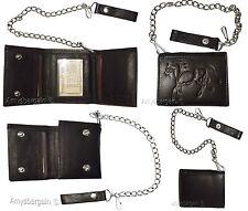 men's genuine leather trifold chain wallet motorcycle trucker biker black wallet