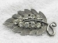 Vintage Leaf Etched Brooch Pin Sparkly Clear Rhinestones Prong Set Silver Tone