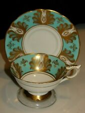 ROYAL STAFFORD TURQUOISE & GOLD PATTERN ENGLISH BONE CHINA WIDE TEACUP & SAUCER
