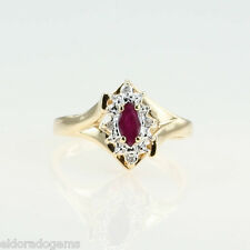 LADY'S 0.35 CT. RUBY & DIAMOND COCKTAIL RING 14K YELLOW GOLD SIZE US6.75