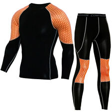 Men Compression Base Layer Set Workout Running Outfit Tights Breathable Cool Dry